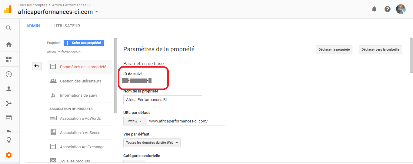 Compte Google Analytics Proprieté
