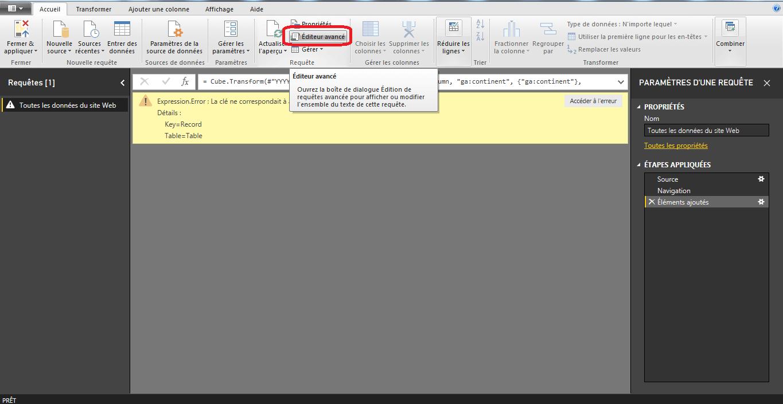 Power BI editeur de requete