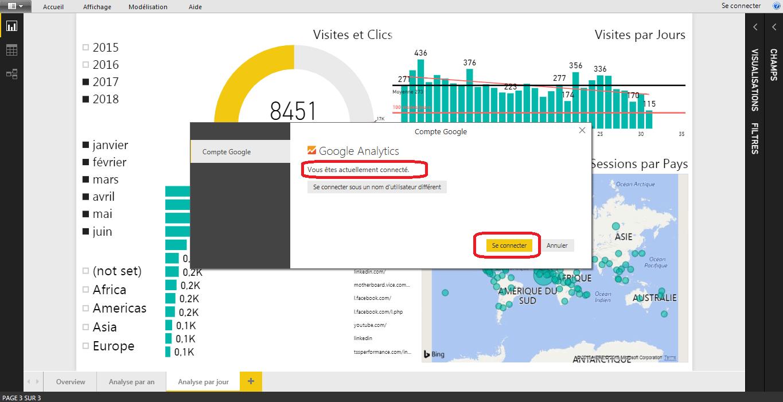 Power BI conecté à Google Analytics